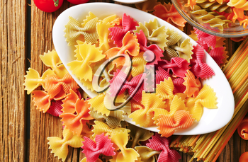 Flavored and colored bow tie pasta