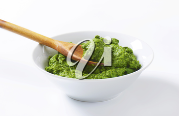 Bowl of homemade spinach puree