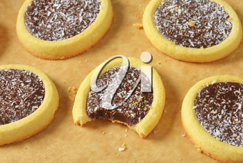 Mini tarts with chocolate coconut filling