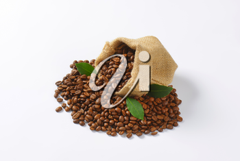 Roasted coffee beans in a burlap sack