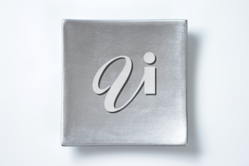 square silver plate on white background