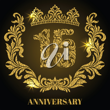 Anniversary of 15 years. Digits, frame and crown made in swirls and floral elements with gold glitter and sparkle