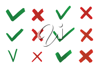 Hand drawn Tick and Cross. Check marks indication for concept yes and no. Vector graphic elements isolated on white background