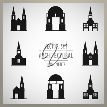 Set of vector architectural monuments old Europe.