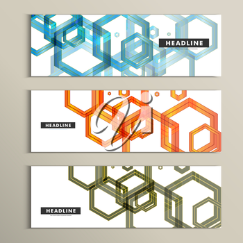 Set vector background of large colored hexagons.