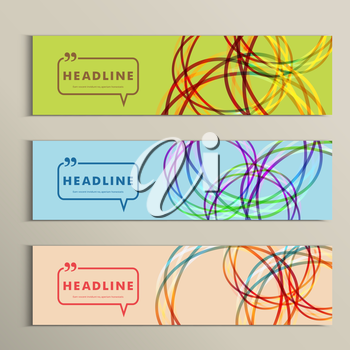 Set of color line banners for abstract design.