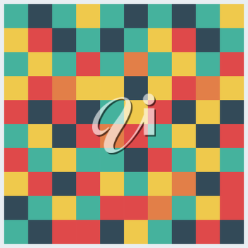 Abstract square pattern in yellow, red, green colors.