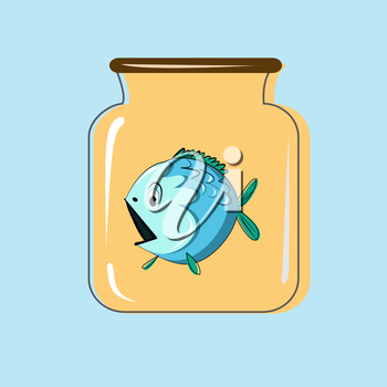 Glass jar with canning fish. Vector design.