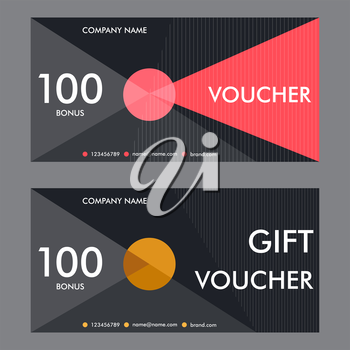 Vector illustration. Template gift voucher with background of treugolnymh elements. Beautiful design certificate.