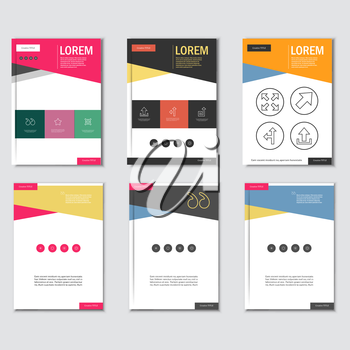 Business brochure design template in A4 size, with triangular  background.