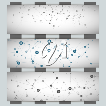 Three vector banner with a molecular structure.
