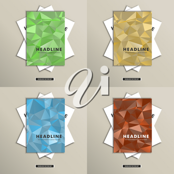 Set brochures with background triangles on cover.