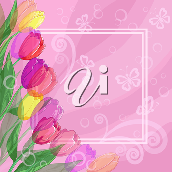 Floral pink background for greetings card with flowers tulips, butterflies silhouettes and frame. Vector eps10, contains transparencies