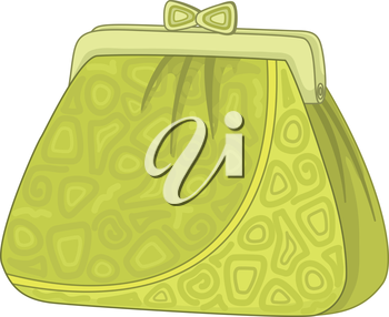 Female green purse for money with abstract patterns. Vector