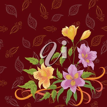 Flowers alstroemeria and pattern of abstract leafs contours. Vector