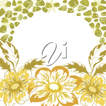 Floral background, dahlia yellow and green flowers and leaves on white. Vector