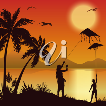 People, Young Women Launching Into the Sky Kite Flying on the Shore of a Tropical Beach with Palm Trees, Seagulls and the Sun in the Evening Sky, Silhouettes. Eps10, Contains Transparencies. Vector