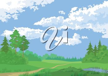 Landscape, summer green forest and blue sky. Vector