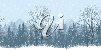 Seamless horizontal winter mountain landscape with trees and snow, silhouettes. Eps10, contains transparencies. Vector
