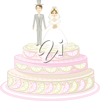 Holiday wedding pie with bride and groom figurines. Vector