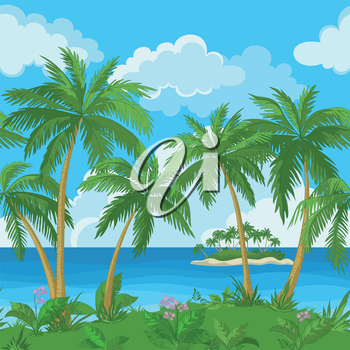 Exotic seamless background, tropical landscape, sea island with green palm trees and flowers and cloudy sky. Vector