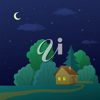 Summer landscape: cartoon country house in night forest. Vector