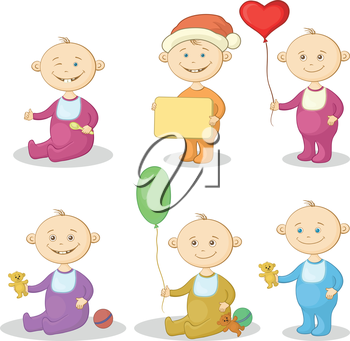 Set Holiday Cartoon Children with Toy Teddy Bears, Balloons, Sign and Spoon. Vector