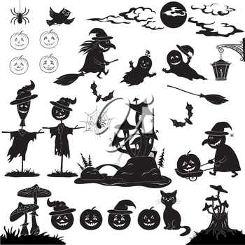 Halloween holiday cartoon, set of objects, animals and characters: pumpkins, witch, voodoo castle of grebes mushrooms and more. Black silhouettes on white background. Vector