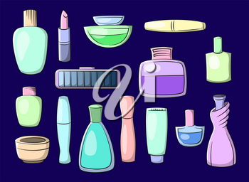 Set of Cosmetic Accessories Toiletry Perfume, Lipstick, Shampoo and Others. Vector