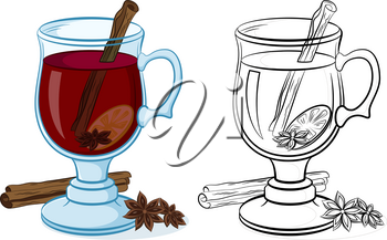 Glasses Goblet with Drink Grog, Cinnamon, Star Anise and Lemon, Color and Black Contour Pictograms on White Background. Vector