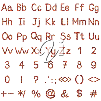 Set of English letters, numbers and mathematical signs with pastel painting pattern