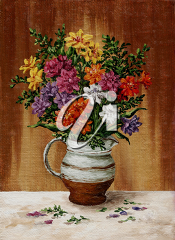 Picture, painting oil paints on a canvas, a bouquet of freesia flowers in a jug