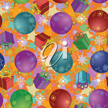 Seamless Christmas holiday background: balls, gift boxes, snowflakes and stars. Vector
