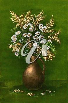 Picture oil paints on a canvas: a bouquet of camomiles in a clay jug on a green background