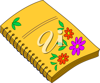 Yellow paper notebook for writing with flower pattern on cover. Vector