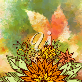 Floral Ornament, Colorful Pattern, Symbolic Flowers and Leafs on Low Poly Geometrical Background. Vector