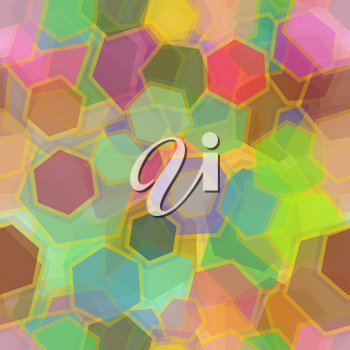 Seamless Background, Abstract Tile Pattern, Colorful Geometrical Figures Hexagons. Eps10, Contains Transparencies. Vector