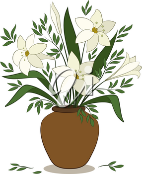 Bouquet of Beige Lilies Flower and Green Leaves in a Brown Clay Vase Isolated on White Background. Vector