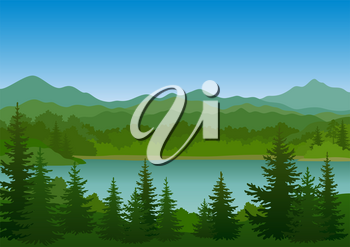 Summer Mountain Landscape with Green Fir Trees, Lake and Blue Sky. Vector