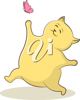 Cartoon Yellow Cat Runs and Wants to Catch a Pink Butterfly. Vector