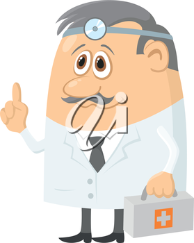 Doctor, cartoon character, man in uniform with first-aid kit and head mirror. Vector