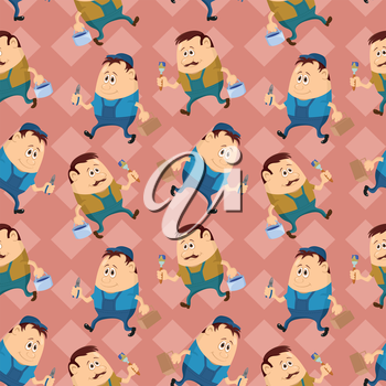 Seamless pattern, workers with pliers and toolboxes and painters with brushes and buckets, cartoon characters on abstract background. Vector