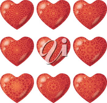 Valentine red hearts, holiday set of beautiful love symbol icons with various patterns. Eps10, contains transparencies. Vector