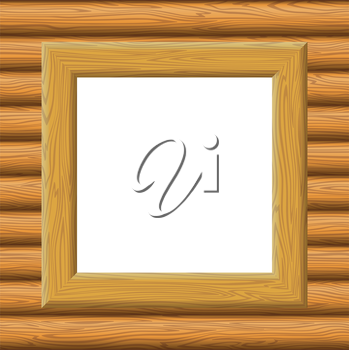 Wooden Square Frame on a Wall with Empty White Space, Background for Your Image or Text. Vector