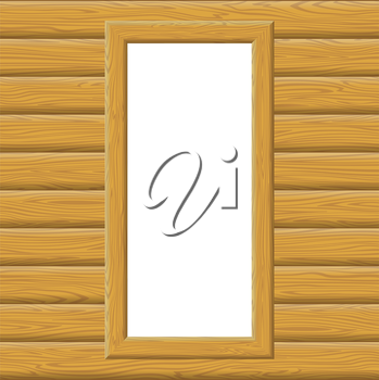 Wooden Frame on a Wall with Empty White Space, Background for Your Image or Text. Vector