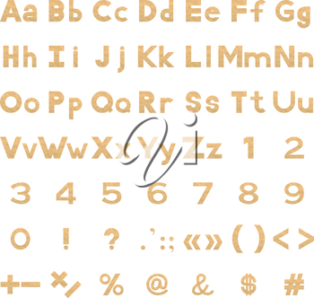 Set of letters, numbers, punctuation and mathematical signs stylized yellow parchment paper. Elements for design titles. Vector