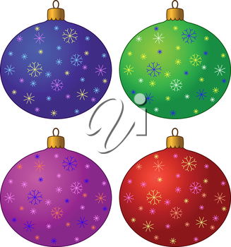 Christmas Holiday Decoration, Multicolored Glass Balls with Snowflakes, Isolated on White Background. Vector
