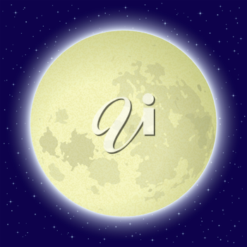 Space background, big bright moon in close-up and night starry sky. Elements of this image furnished by NASA (www.visibleearth.nasa.gov). Eps10, contains transparencies. Vector