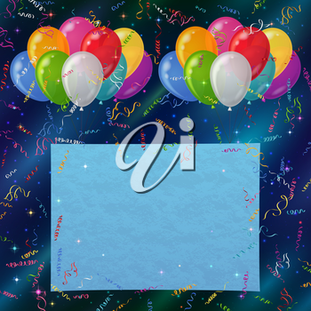 Holiday background for web design with colorful balloons, sheet of paper and serpentine on abstract space with dark blue sky and stars. Eps10, contains transparencies. Vector