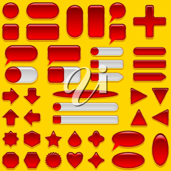 Set of glass red and white buttons and sliders, computer icons of different forms for web design on yellow background. Eps10, contains transparencies. Vector